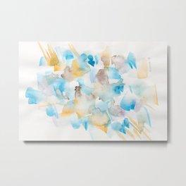 180713 Watercolour Blue Yellow 6 | Watercolor Brush Strokes Metal Print