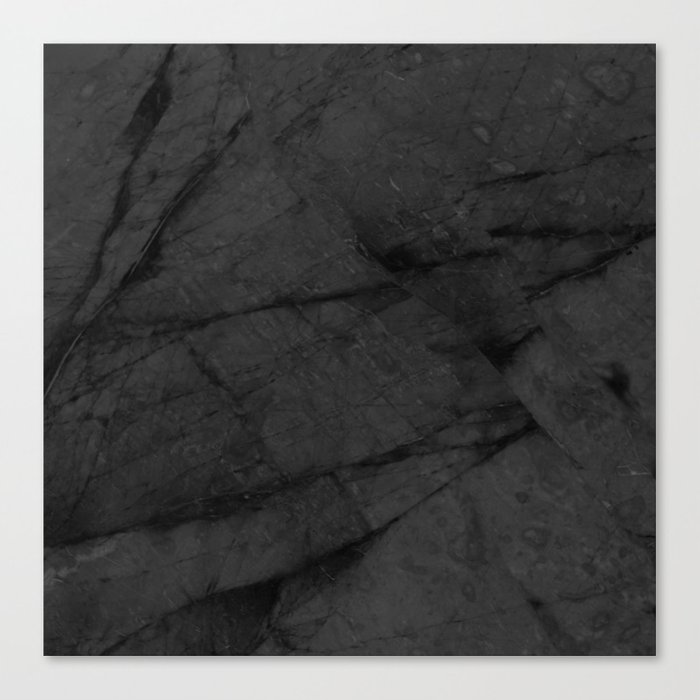Dark Grey Matte Black Marble Canvas Print