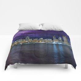 Spacey Chicago Skyline Comforters