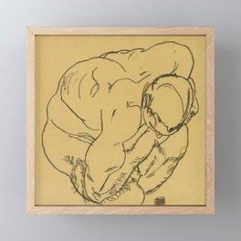 """Egon Schiele """"Crouching male nude"""" Framed Mini Art Print"""