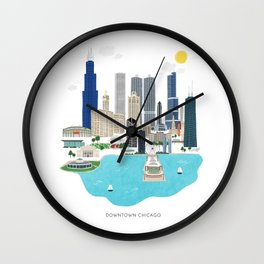 Chicago Illustration Wall Clock