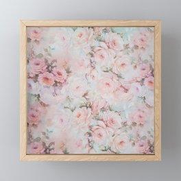 Vintage romantic blush pink teal bohemian roses floral Framed Mini Art Print