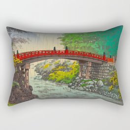 Vintage Japanese Woodblock Print Garden Red Bridge River Rapids Beautiful Green Forest Landscape Rectangular Pillow