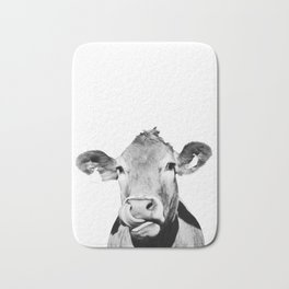 Cow photo - black and white Bath Mat