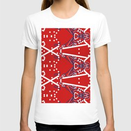 Tile #6 White-Blue Line Art on Red T-shirt