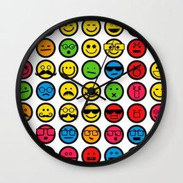Emotional Emoticon Set Wall Clock