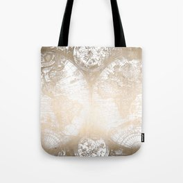 Antique White Gold World Map Tote Bag
