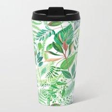 greenery watercolor pattern Metal Travel Mug