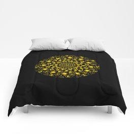 Yellow coffee mandala Comforters