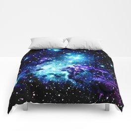 Fox Fur Nebula Turquoise Blue Purple Black Comforters