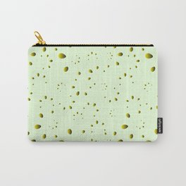 A lot of yellow drops and petals on a green background in nacre. Carry-All Pouch