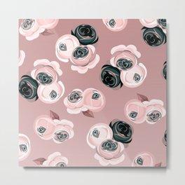 Pink & Black Roses Metal Print