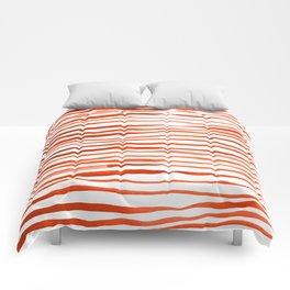 Irregular watercolor lines - orange Comforters