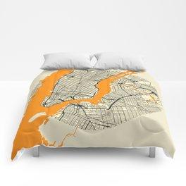 New York Map Moon Comforters