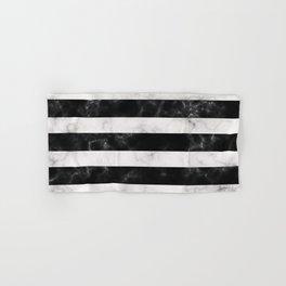 Black and White Marble Stripes Hand & Bath Towel