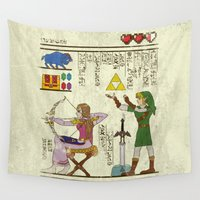 history Wall Tapestries featuring hero-glyphics: Hyrule History by Josh Ln