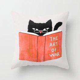 Cat reading book Throw Pillow