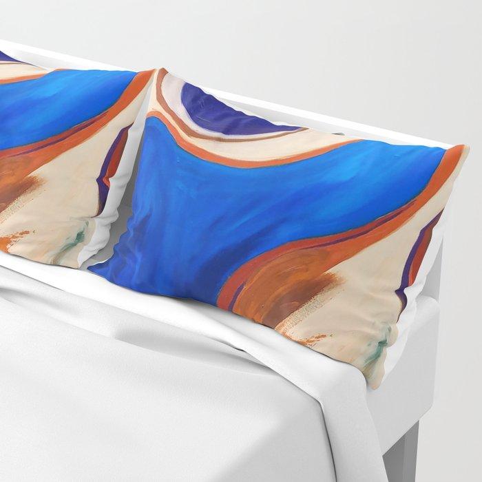 Abstract Blue and Orange Bird Pillow Sham