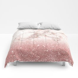 Elegant Faux Rose Gold Glitter White Marble Ombre Comforters