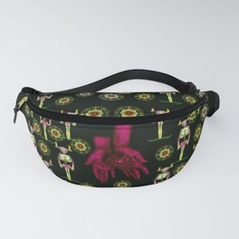 floral  candle light skulls and mother earth in soft hands Fanny Pack
