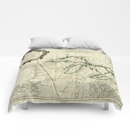 Map of the Great Lakes Region, North America (1784) Comforters