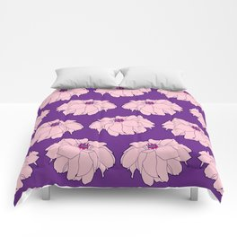 Pink Dahlia Flower Illustrated Print Comforters