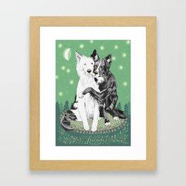 Hugging dogs Framed Art Print
