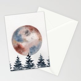 """watercolor """"Piemontite"""" moon with pines Stationery Cards"""