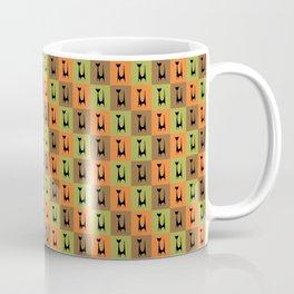 Mid Century Modern Retro Atomic Cats on Brown Orange and Avocado Green Coffee Mug