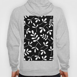 White on Black Assorted Leaf Silhouettes Hoody