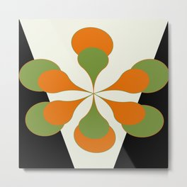 Mid-Century Modern Art 1.4 - Green & Orange Flower Metal Print