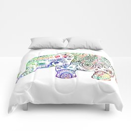 Floral paisley colorful elephant illustration Comforters