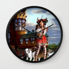 Gothic Lolita in the Shoe with Dogs Wall Clock