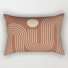 Geometric Lines in Terracotta and Beige 40 (Sunrise over the ocean) Rectangular Pillow