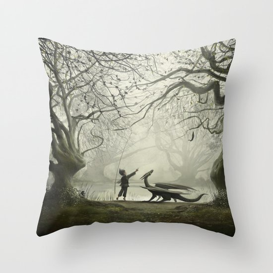 The Boy And His Dragon Throw Pillow