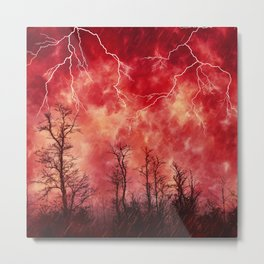 Savage Storm Neck Gator Red Fire Storm Metal Print