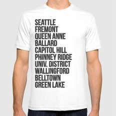 SEATTLE CITIES White MEDIUM Mens Fitted Tee