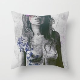 To The Marrow: Purple (faceless nude woman with lilies tattoos) Throw Pillow