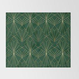 Art Deco in Gold & Green Throw Blanket