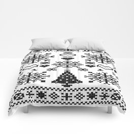 Christmas Cross Stitch Embroidery Sampler Black And White Comforters