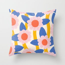 Coral & Pink Flowers Throw Pillow