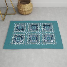 FROZEN teal background, navy blocks, white shards of ice abstract Rug