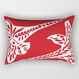 Retro Red Chic Polynesian Tribal Geometric Graphic Floral Tattoo Rectangular Pillow