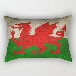 Old and Worn Distressed Vintage Flag of Wales Rectangular Pillow