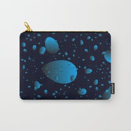 Large blue drops and petals on a dark background in nacre. Carry-All Pouch