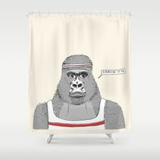 Gorillas love exercise Shower Curtain
