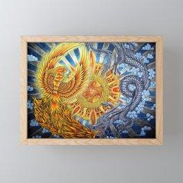Chinese Phoenix and Dragon Mandala Framed Mini Art Print