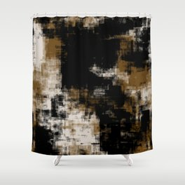 Gold Black and White Abstract 35 Shower Curtain