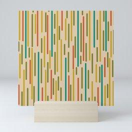 Mid Century Mod Line Dance Pattern in Orange, Teal, Mustard, Olive, and Beige Mini Art Print