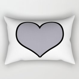 Pantone Lilac Gray Heart Shape with Black Border Digital Illustration, Minimal Art Rectangular Pillow